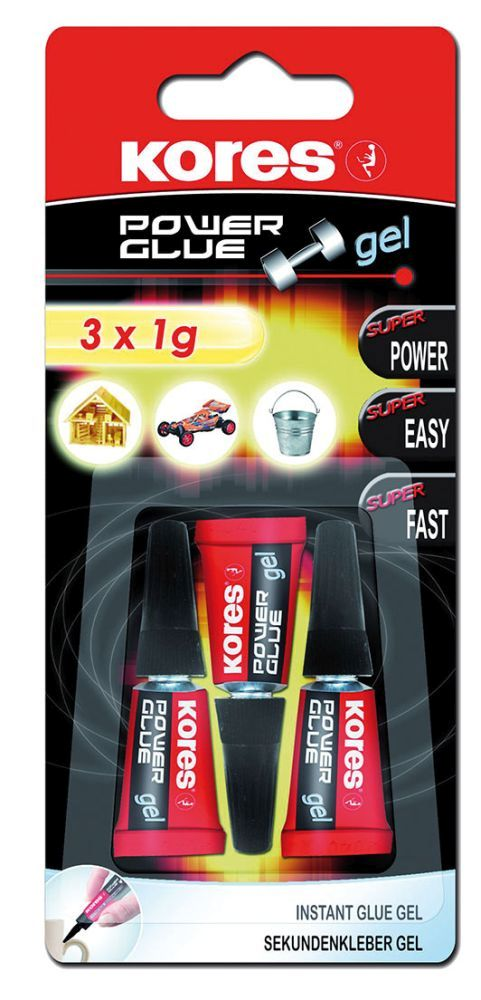 Lepidlo vteřinové KORES POWER Glue gel 3x1gr